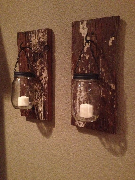 Barn Wood Mason Jar Candle Holders A Well Jars And