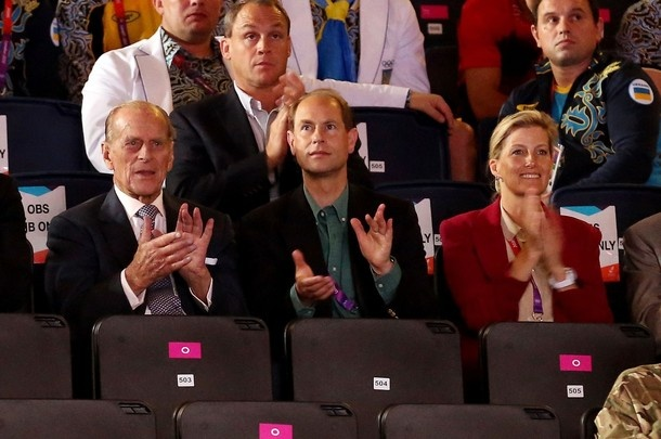 Prince Philip along with the Earl and Countess of Wessex cheer on Olympic boxing 2 Aug 2012