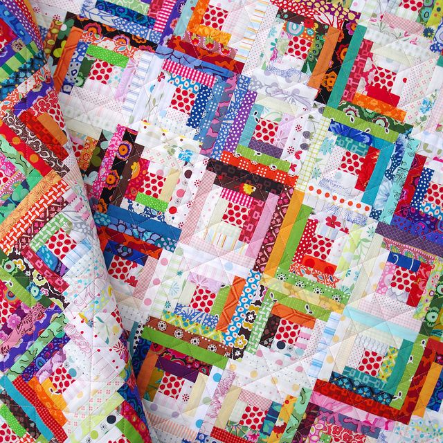 Scrappy Log Cabin Quilt from Red Pepper Quilts