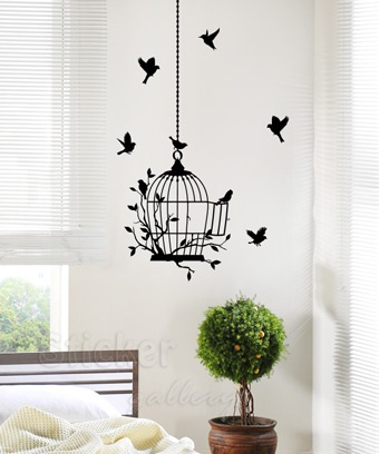 Birdcage Wall Sticker - Αυτοκόλλητο τοίχου Κλουβί