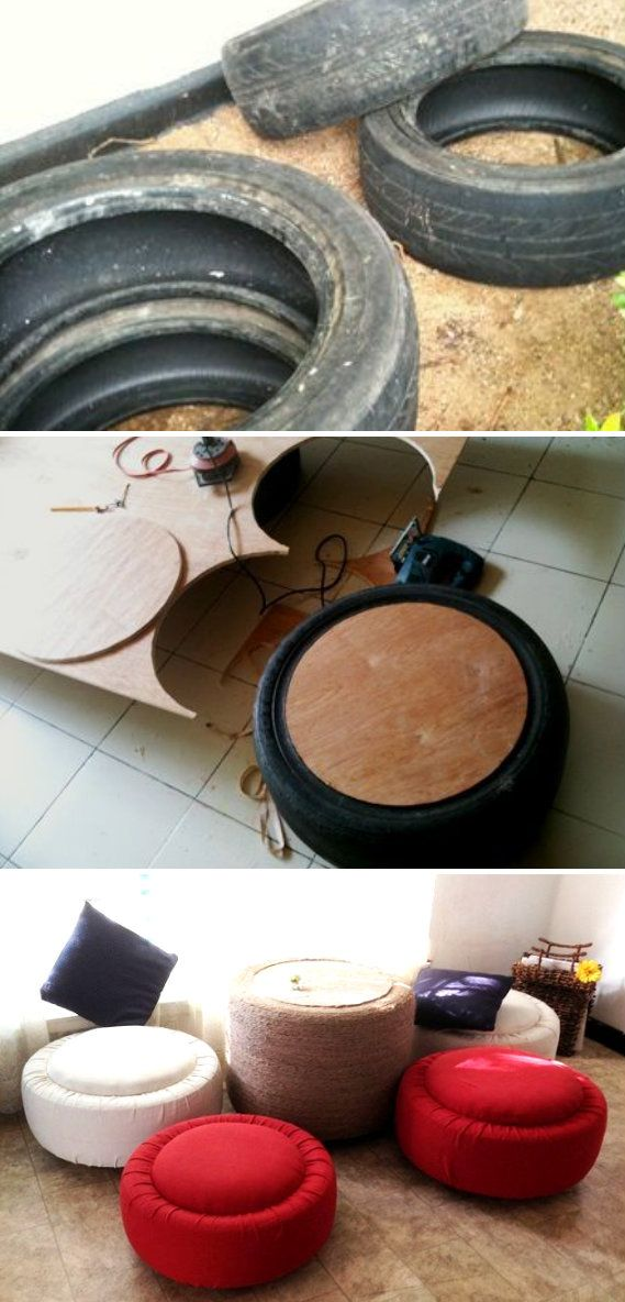 Tire Ottoman and Table