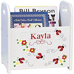 Personalized Child's Book Storage Magazine Rack - Ladybug - Red