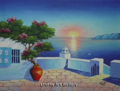 Santorini Greek Courtyard Oil Painting
