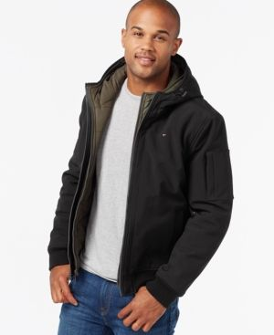 Tommy Hilfiger Men's Big & Tall Double-Layer Hooded Bomber Coat -