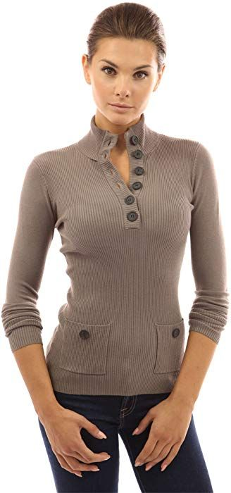 00ad41aabf4719 PattyBoutik Women's V Neck Button Ribbed Sweater (Tan M) at Amazon Women's  Clothing store: