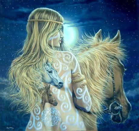 Goddess Epona - an incredible story of defending one's honor after delivering twins and out running a horse.