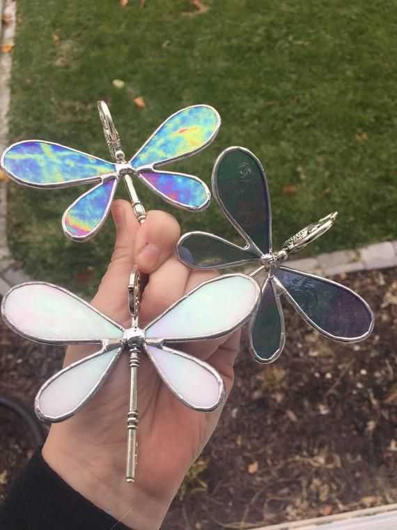 Stained Glass Flying Dragonfly Keys Glass Art Pictures