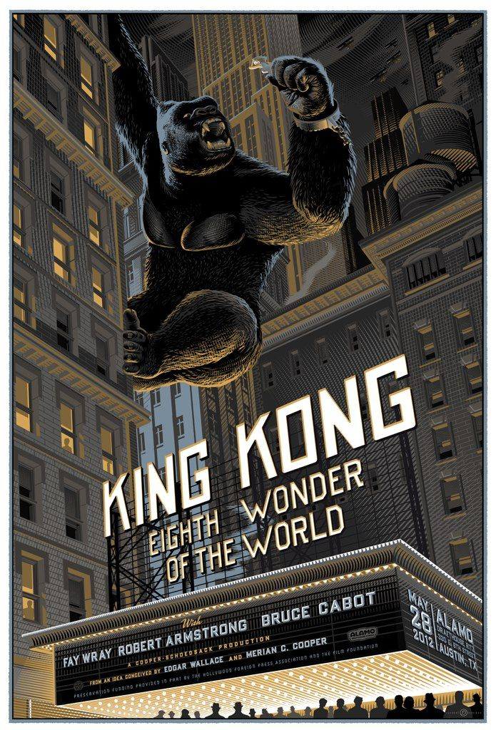 https://flic.kr/p/bDHRYy | king kong 1933 | Standard version of King Kong from 1933. 9 colours screen print commissioned by Mondo in association with the Martin Scorcese's Film foundation. Screening May, 28th 2012, Alamo Drafthouse theatre, Texas.