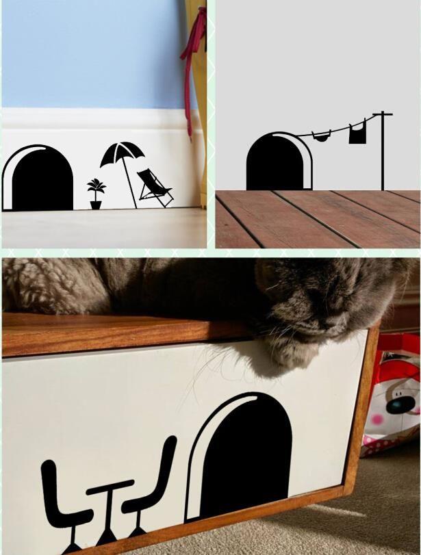 3d drôle trou de souris de dessin animé stickers muraux pour enfants chambres home stickers décoratifs 358 amovible peintures murales dans Autocollants muraux de La maison, cuisine et Jardin sur AliExpress.com | Alibaba Group