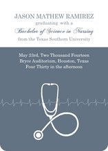 Grey Stethoscope Nursing School Graduation Announcement