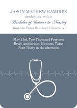 Grey Stethoscope Nursing School Graduation Announcement