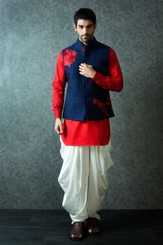 M16-102 - Cotton kurta with silk jacket embellished with resham work