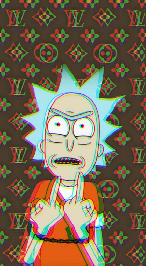 rick and morty wallpapers for iphone tumblr aesthetic lv Louis Vuitton dope trippy weed