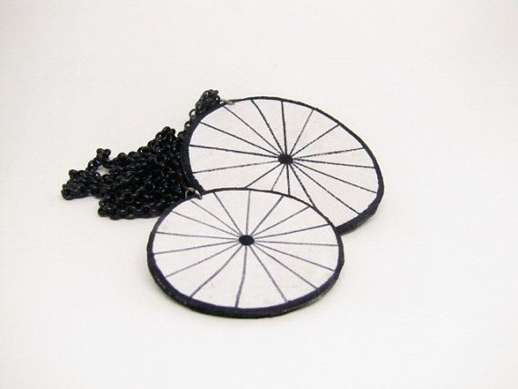Penny-farthing bicycle  leather necklace   by SkinToSkinCreations