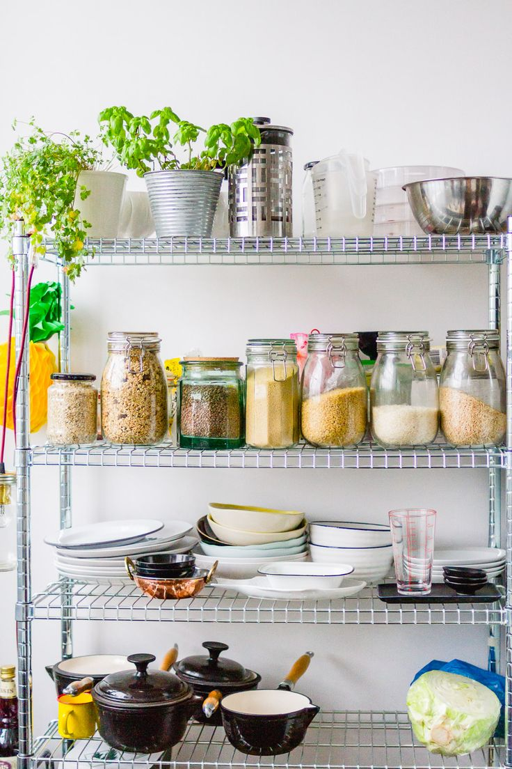 A clever, modern way of creating shelving in an open plan kitchen if you have no shelves! Use a stainless steel shelving unit with glass kilner jars and show off your wares in style like Sophie and Jack in Birmingham