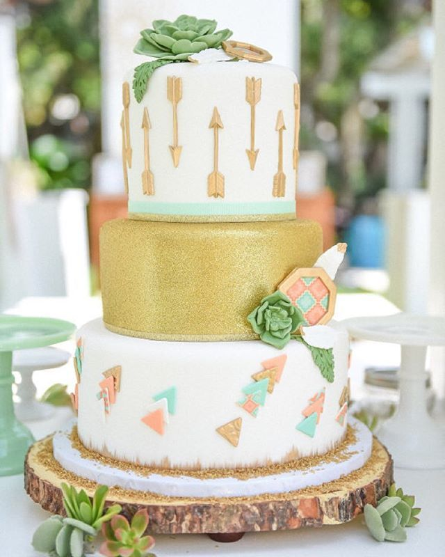 We vote that every #babyshower needs a #cake like this #bohocake! #party #partyinspiration | Photography: @tuttibambiniphotography | Event Planning: @oneinspiredparty | Florist: @everafterhelen | Cake: @cakesbyrc | Tabletop Rentals: @atlaspartyrental | Specialty Decor: @thegildedgroup