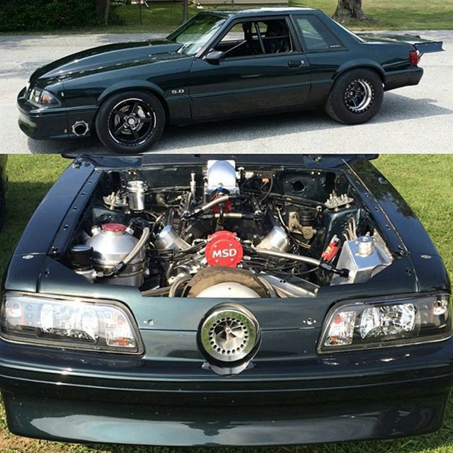 Turbo Harley Drag Race: Turbo Fox Body Ford Mustang