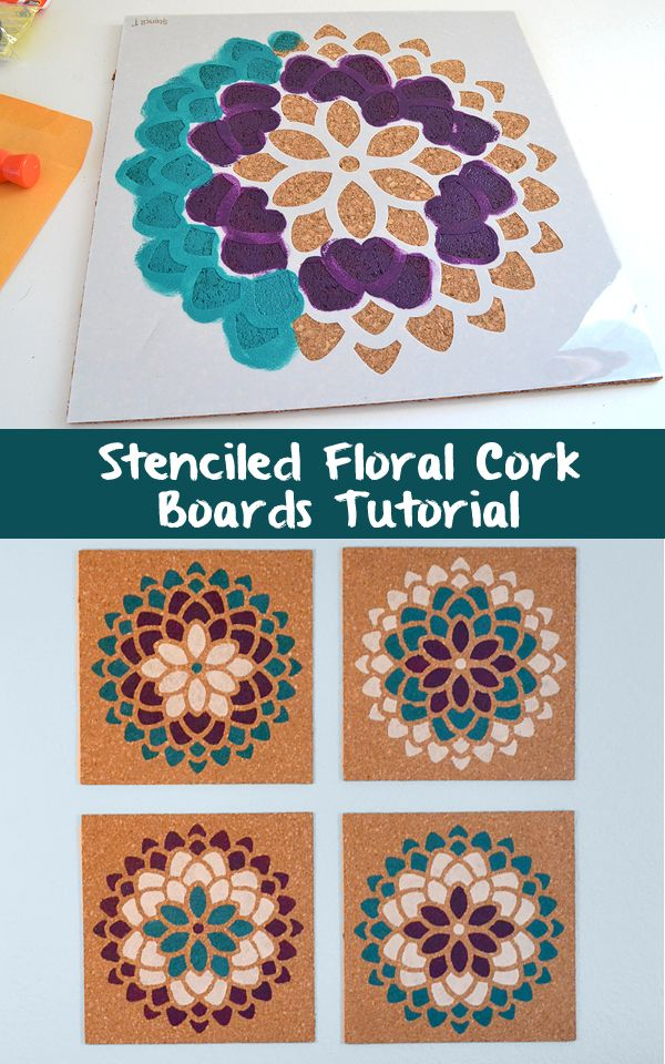 These stenciled cork boards double duty in the office as both decor and a functional place to pin your stuff!