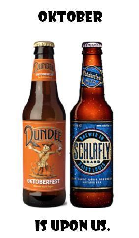 Oktober is upon us. #Oktoberfest @dundeebeer @Schlafly Beer http://www.dundeebeer.com/ales_and_lagers/oktoberfest/ http://schlafly.com/beers/styles/oktoberfest/