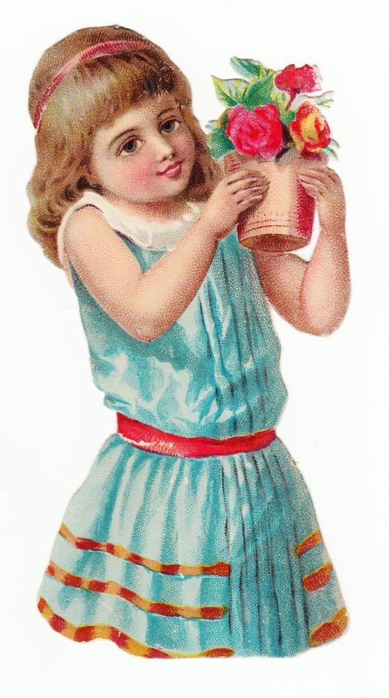 Oblaten Glanzbild  scrap die cut chromo / Mädchen mit Blumenstock