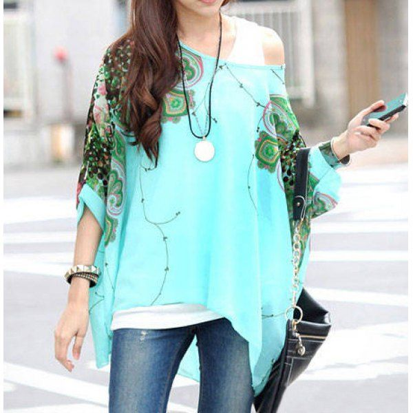 $10.20 Stylish Scoop Neck Batwing Sleeve Printed Loose-Fitting Chiffon Blouse For Women
