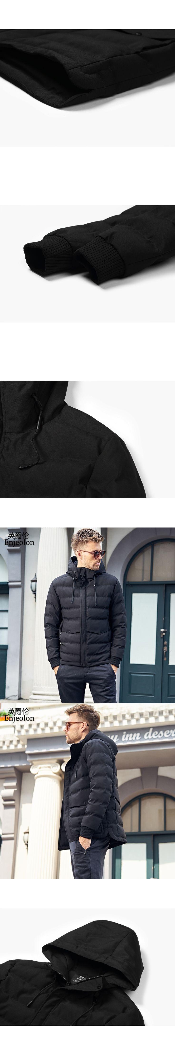 Enjeolon Brand Cotton Padded Jacket coat Men black Parka hoodies coat Thick Quilted fashion plus size 3XL Coat Men MF0299