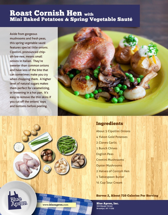 ... Hen with Mini Baked Potatoes & Spring Vegetable Saute - Blue Apron