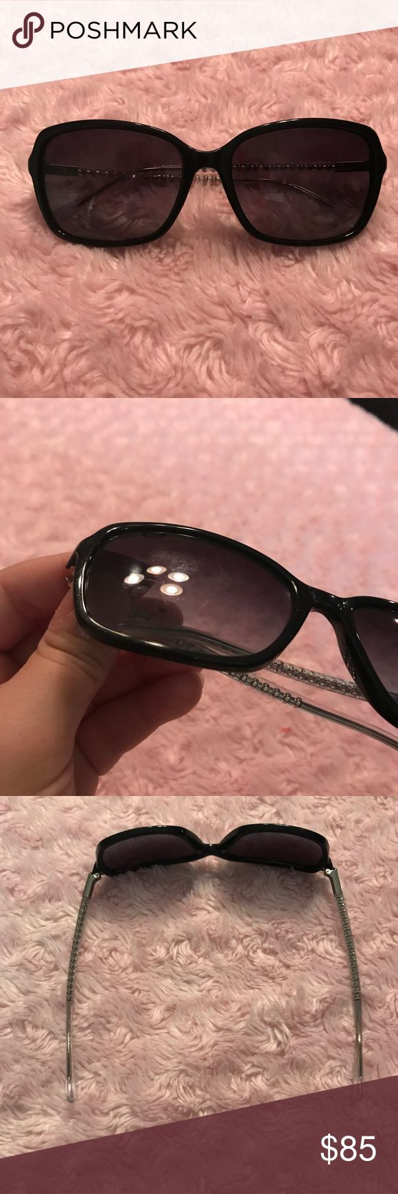 Coach Sunglasses Coach sunglasses. Worn 3 or 4 times, look brand new. A couple faint scratches on one lens.  Might need to get them adjusted to fit they are open a little wide but can do that at any eye glass store. These were purchased at a eye glass store so could be used for prescription glasses Coach Accessories Sunglasses