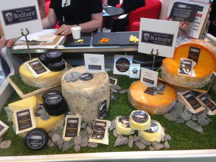 Cheese display on the Welsh stand at the Food & Drink Expo NEC