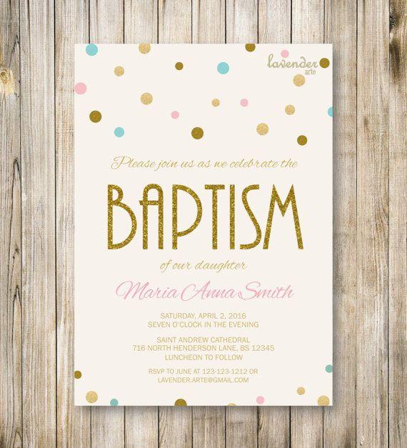 BAPTISM Invitation Pink Blue Gold Glitter by LavenderArte on Etsy