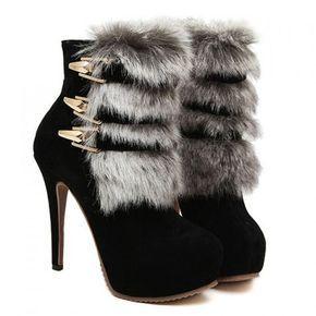 Trendy Buckle and Imitation Fur Design Women's High Heel Boots
