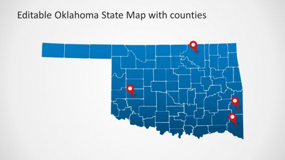 Oklahoma State and Counties PowerPoint Map | Map, County map ...