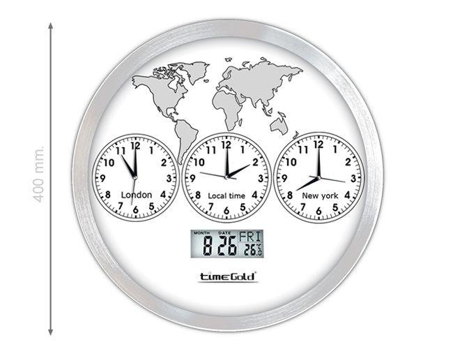 3 Lü Metal Dünya Duvar Saati  Ürün Bilgisi;  Alüminyum çerceve Çap : 40 cm Mineral cam Sessiz akan saniye Ürün resimdeki gibidir