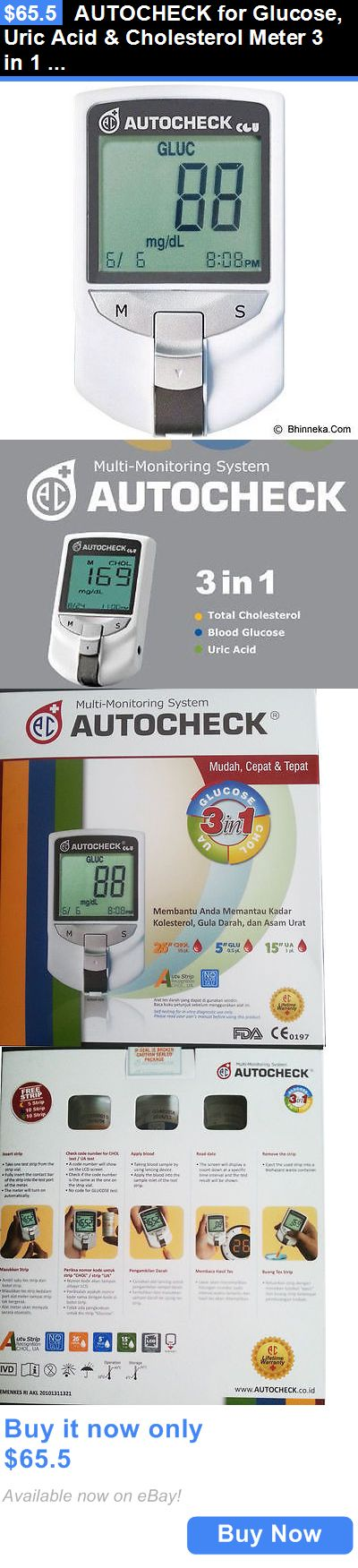 Cholesterol Testing: Autocheck For Glucose, Uric Acid And Cholesterol Meter 3 In 1 Monitoring System BUY IT NOW ONLY: $65.5