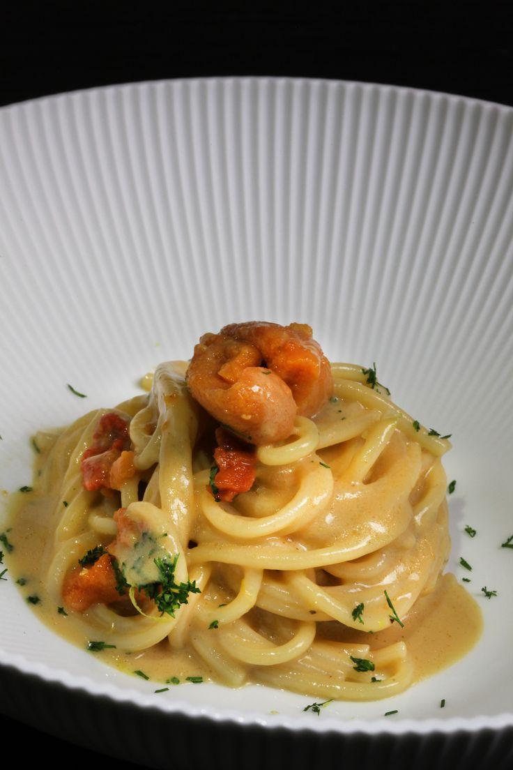 Luca Fantin, 'Spaghetti sea urchins' at #epicurea2016, 11-12 October #bulgarihotelmilano #hautecuisine #lucafantin #chef