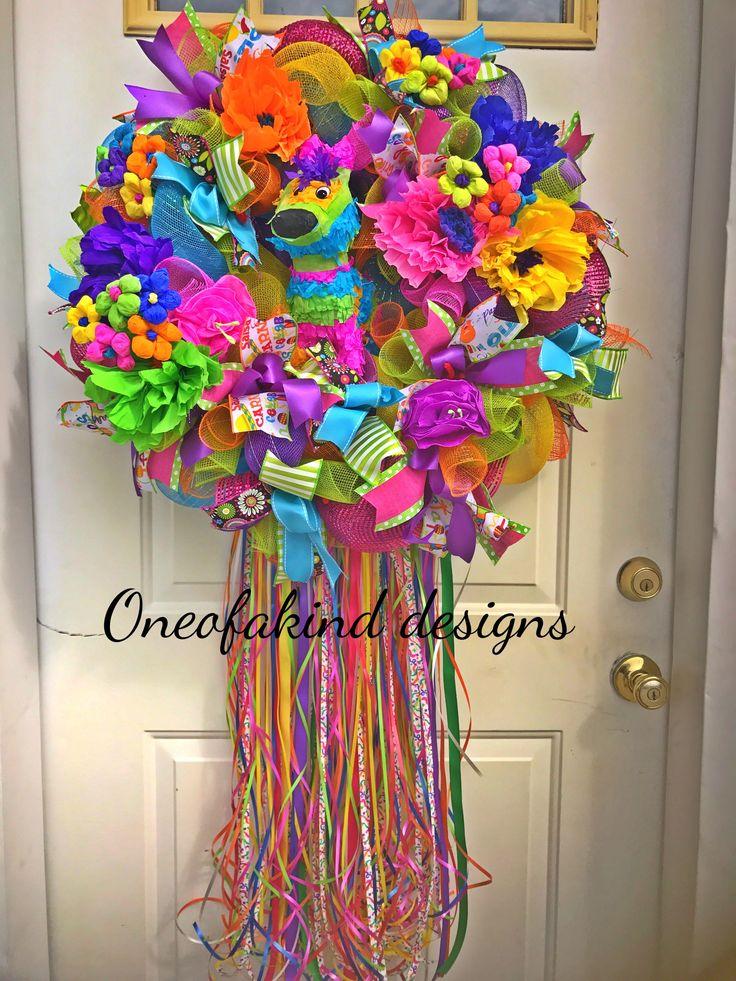 Fiesta wreath or cinco de mayo wreath! Full of color!!