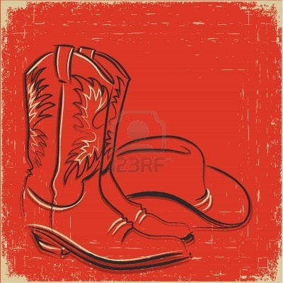 Cowboy boots and western hat .Sketch illustration Stock Photo