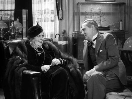 Marie Dressler as Carlotta Vance, and Lionel Barrymore as Oliver Jordan, 1933 Dinner at Eight
