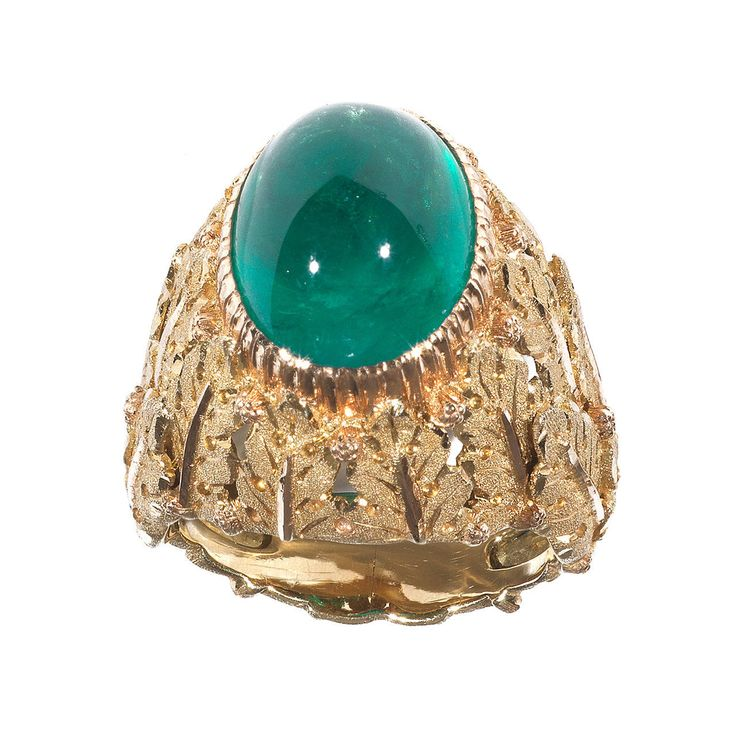 Buccellati Emerald Gold Dome Ring | From a unique collection of vintage dome rings at https://www.1stdibs.com/jewelry/rings/dome-rings/