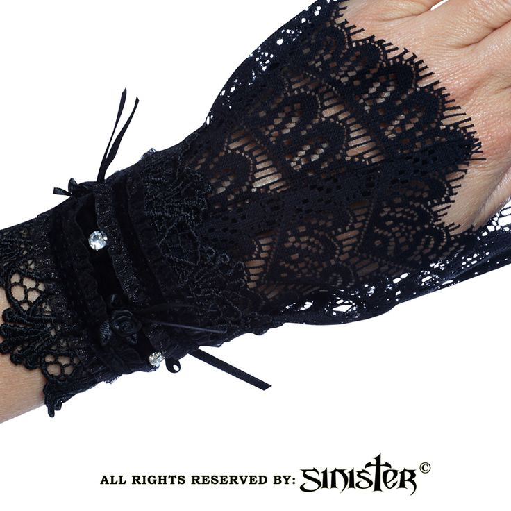 Collection 2015 - Gothic lace cuffs with glass stones by Sinister (A025) www.sinister.nl