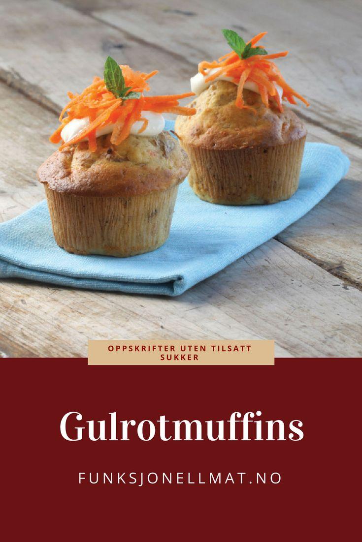 Gulrotmuffins - Funksjonell Mat | Oppskrift muffins | Sukkerfri oppskrift | Sukrin | Sukkerfrie muffins | Oppskrift cupcakes | Bake sukkerfritt | Uten tilsatt sukker | Sukkerfri dessert | Kake oppskrift | Sukkerfri kake