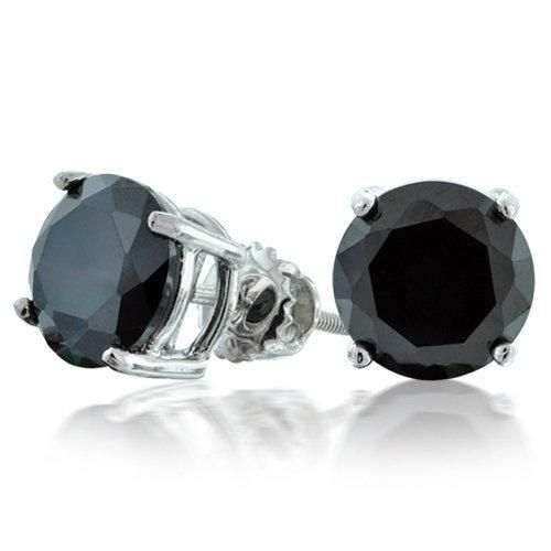Bling Jewelry Round Black CZ Screw Back Posts Stud Earrings Sterling Silver 8mm