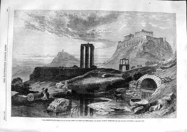 "<p>Η πηγή Καλλιρρόη και ο Ιλισός, όπως ήταν το 1844. Λιθογραφία από το αρχικό έργο του Harry John Johnson<br /> Δημοσιεύτηκε στο ""London Illustrated News"" το 1863</p>"