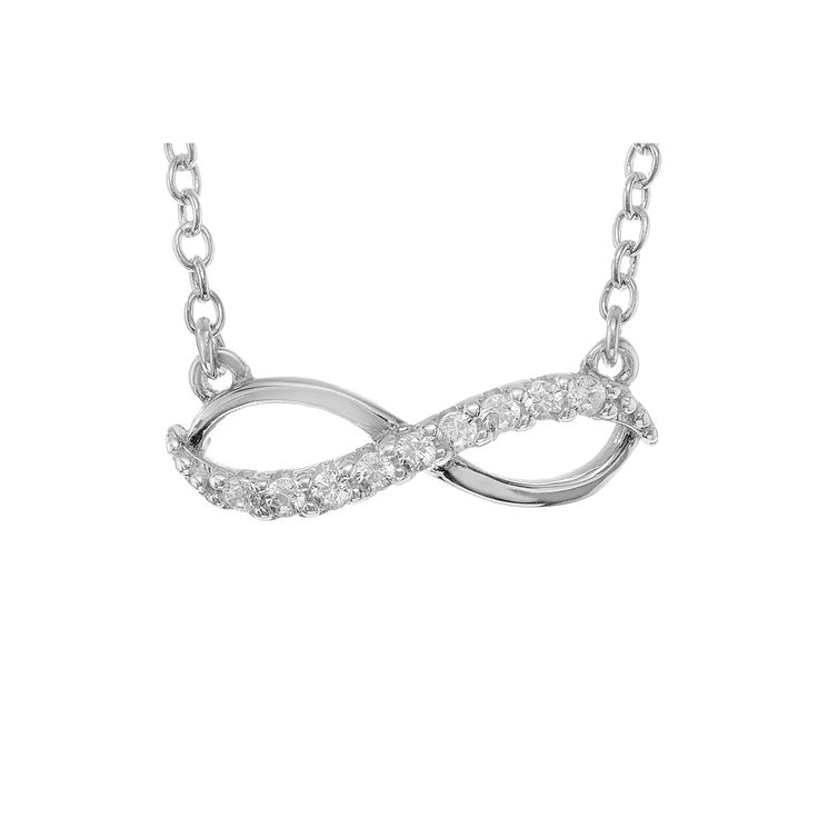 1/10 CT. T.W. Round-cut CZ Pave Set Infinity Pendant Necklace in Sterling Silver - Silver (18), Women's