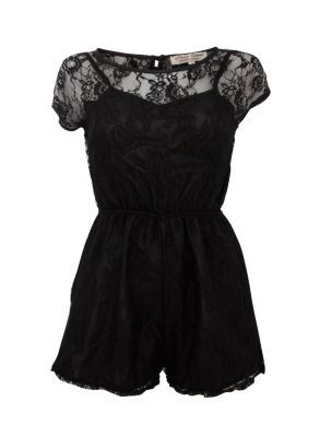 Parisian Black Lace Cut Out Back Playsuit #goth #summer #style