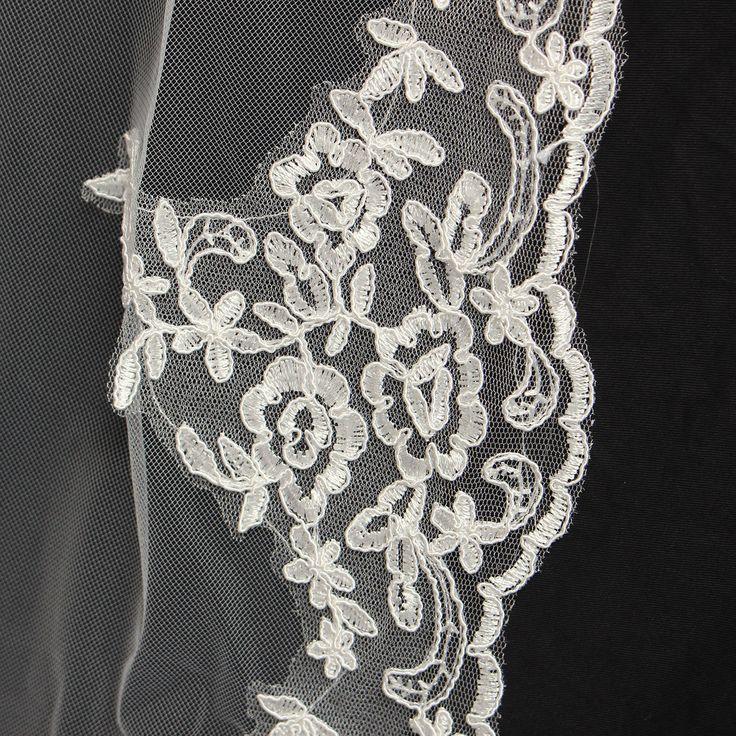 2.7M Bride White Ivory Elegant Cathedral Length Wedding Bridal Veil With Lace Edge