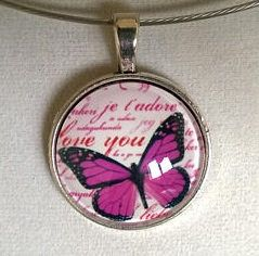 Pink necklace Pink jewelry  Butterfly glass cabochon Glass