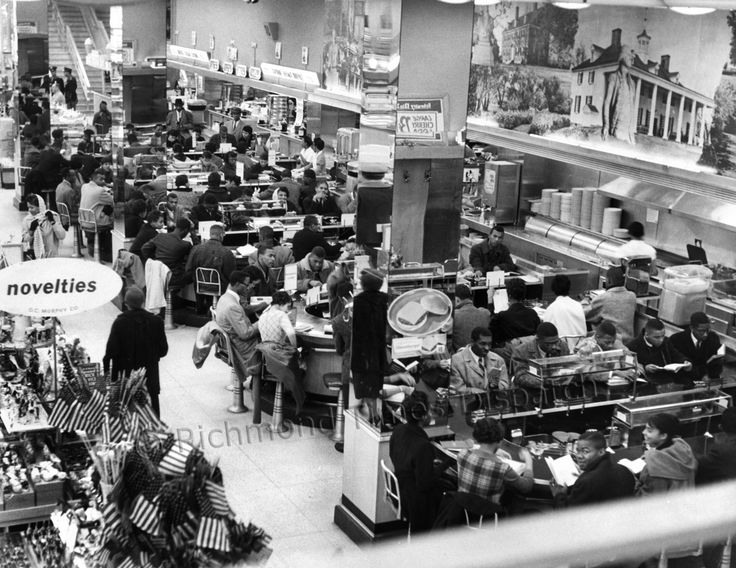 GC Murphy Sit-In: On the morning of Feb. 20, 1960, about 200 students from Virginia Union University staged sit-in protests around Richmond at a half-dozen lunch counters where black customers were not served. Here, students occupied all 74 stools in the G.C. Murphy department store's whites-only lunch area for several hours. The store, like others, decided to close at about 1 p.m.; it reopened at 4 p.m., with the lunch counter roped off. | Richmond Times-Dispatch - photo, James Netherwood…