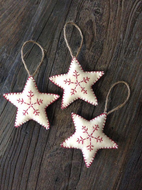 3x Nordic Scandi Style Christmas Star Decorations Christmas