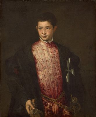 """"""" Portrait of Ranuccio Farnese' by Titian. 1542 oil on canvas. Painted when the sitter, grandson of Pope Paul III, was age 12. Farnese was made the Archbishop of Naples at age 14 and later held numerous high positions, including Cardinal, in the church before his death at age 35. In the collection of The National Gallery of Art, Washington, DC."""